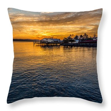 Sunrise Over Commencement Bay Tacoma, Wa Throw Pillow