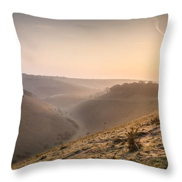 Sunrise Over Devils Dyke Throw Pillow