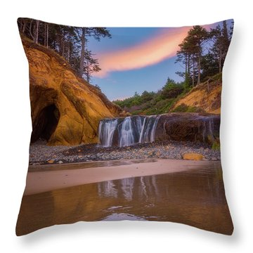 Throw Pillow featuring the photograph Sunrise Over Hug Point by Darren White