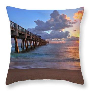 Sunrise Over Juno Beach Pier In Florida Throw Pillow