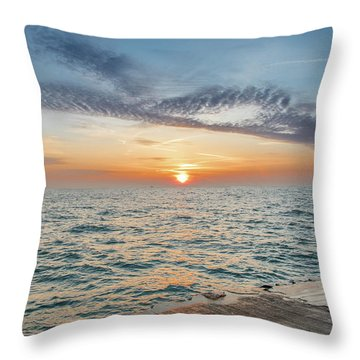 Sunrise Over Lake Michigan Throw Pillow by Peter Ciro