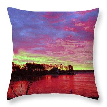 Sunrise Over Lake Murray Throw Pillow
