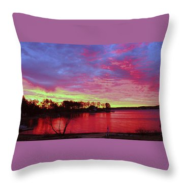 Sunrise Over Lake Murray Throw Pillow
