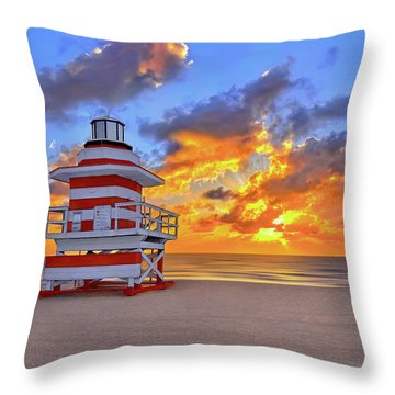 Sunrise Over Lifegaurd Stand On South Miami Beach  Throw Pillow by Justin Kelefas