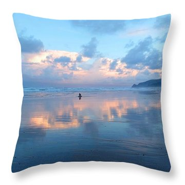 Sunrise Over Lincoln City Throw Pillow by Karen Molenaar Terrell