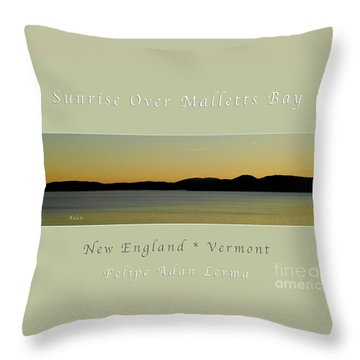 Sunrise Over Malletts Bay Greeting Card And Poster - Six V4 Throw Pillow by Felipe Adan Lerma