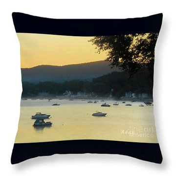 Sunrise Over Malletts Bay Panorama - Nine V2 Detail Throw Pillow by Felipe Adan Lerma