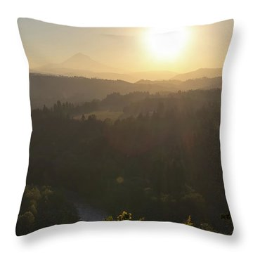 Sunrise Over Mount Hood And Sandy River Throw Pillow by David Gn