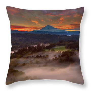 Sunrise Over Mount Hood And Sandy River Valley Throw Pillow by David Gn