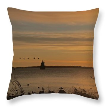 Sunrise Over New Bedford Throw Pillow