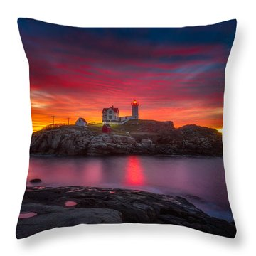Sunrise Over Nubble Light Throw Pillow