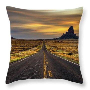 Long Road Ahead Throw Pillows Fine Art America