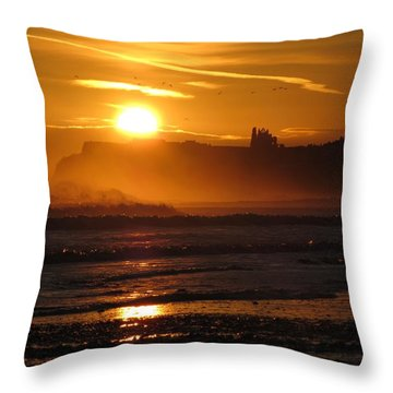 Sunrise Over Sandsend Beach Throw Pillow by RKAB Works