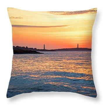 Sunrise Over Thacher Island From Long Beach In Gloucester Ma Golden Sunrise Throw Pillow