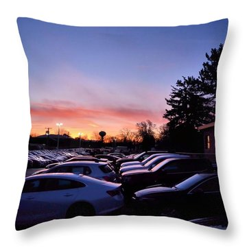 Sunrise Over The Car Lot Throw Pillow