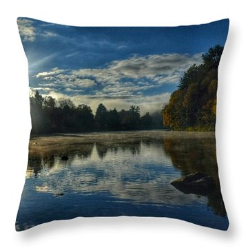 Sunrise Over The Clarion River Throw Pillow