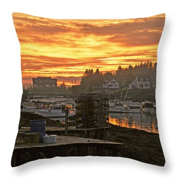 Sunrise Over The Harbor Throw Pillow