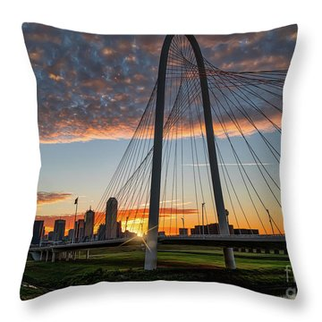 Sunrise Over The Margaret Hunt Hill Bridge Throw Pillow