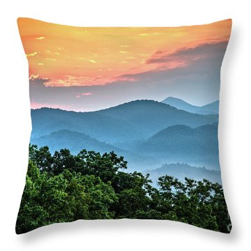 Throw Pillow featuring the photograph Sunrise Over The Smoky's by Douglas Stucky