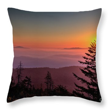 Throw Pillow featuring the photograph Sunrise Over The Smoky's IIi by Douglas Stucky