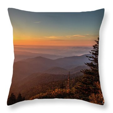 Throw Pillow featuring the photograph Sunrise Over The Smoky's V by Douglas Stucky