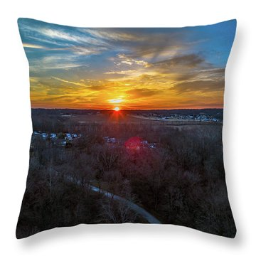 Sunrise Over The Woods Throw Pillow