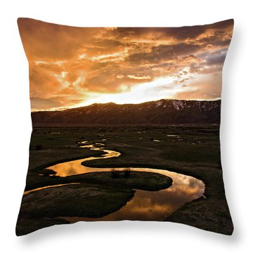 Sunrise Over Winding River Throw Pillow