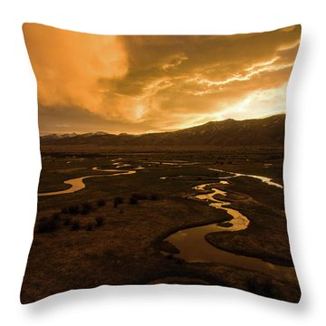 Sunrise Over Winding Rivers Throw Pillow