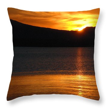Sunrise Over Yellowstone Lake Throw Pillow