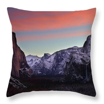 Sunrise Over Yosemite Valley In Winter Throw Pillow