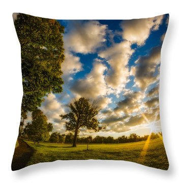 Throw Pillow featuring the photograph Sunrise Path At Meadows Edge by Chris Bordeleau