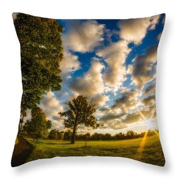 Sunrise Path At Meadows Edge Throw Pillow by Chris Bordeleau