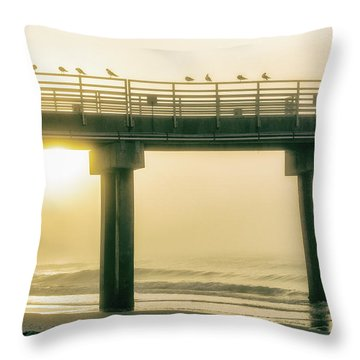 Throw Pillow featuring the photograph Sunrise Pier In Alabama  by John McGraw