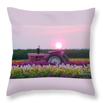 Sunrise Pink Greets John Deere Tractor Throw Pillow