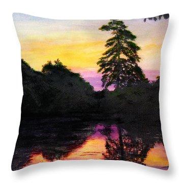 Sunrise Pond Maryland Landscape Original Fine Art Painting Throw Pillow