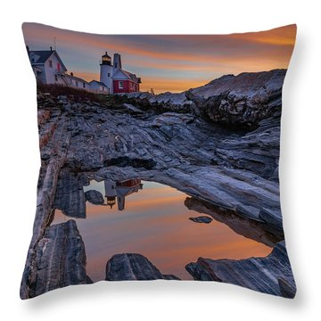 Sunrise Reflections At Pemaquid Point Throw Pillow
