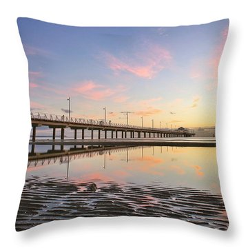 Sunrise Reflections At The Shorncliffe Pier Throw Pillow