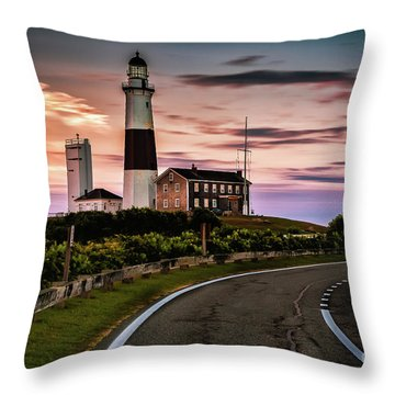Sunrise Road To The Montauk Lighthous Throw Pillow