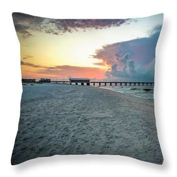 Sunrise Seascape Gulf Shores Al Pier 064a Throw Pillow
