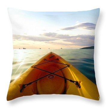 Sunrise Seascape Kayak Adventure Throw Pillow