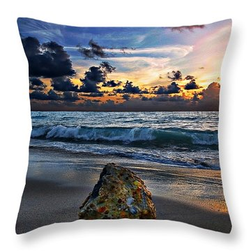 Sunrise Seascape Wisdom Beach Florida C3 Throw Pillow by Ricardos Creations