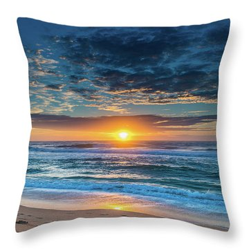 Sunrise Seascape With Footprints In The Sand Throw Pillow