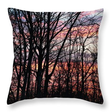 Sunrise Silhouette And Light Throw Pillow