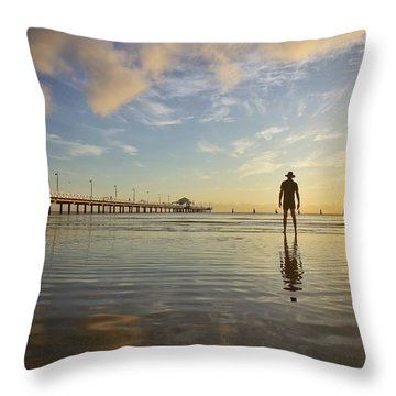 Sunrise Silhouette Down By The Pier. Throw Pillow