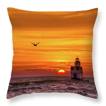 Throw Pillow featuring the photograph Sunrise Solo by Bill Pevlor