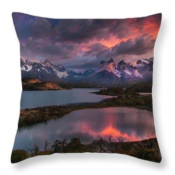 Sunrise Spectacular At Torres Del Paine. Throw Pillow