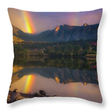 Sunrise Summer Rainbow In Colorado Throw Pillow