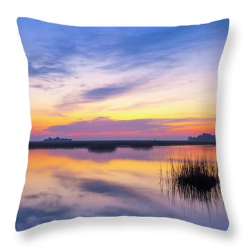 Throw Pillow featuring the photograph Sunrise Sunset Image Art - Lavender Lace by Jo Ann Tomaselli