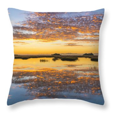 Throw Pillow featuring the photograph Sunrise Sunset Phot Art - Blue And Gold by Jo Ann Tomaselli