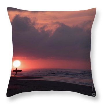 Sunrise Surfer Throw Pillow